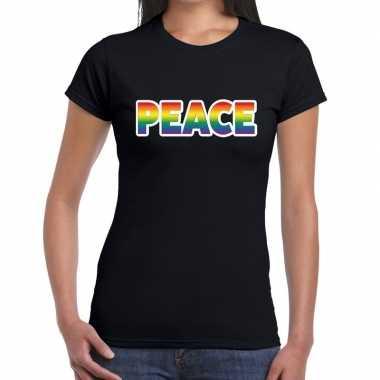 Peace gay pride zwart dames t-shirt kopen