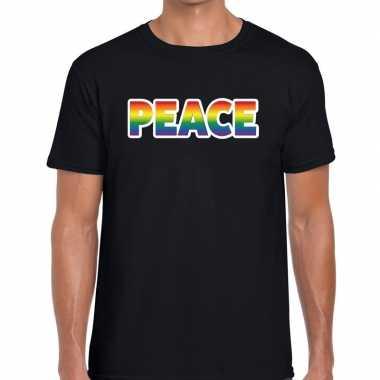 Peace regenboog gaypride zwart heren t-shirt kopen