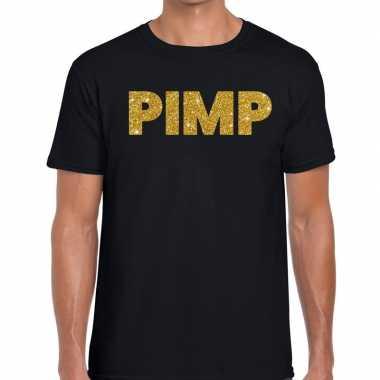 Pimp glitter tekst zwart heren t-shirt kopen