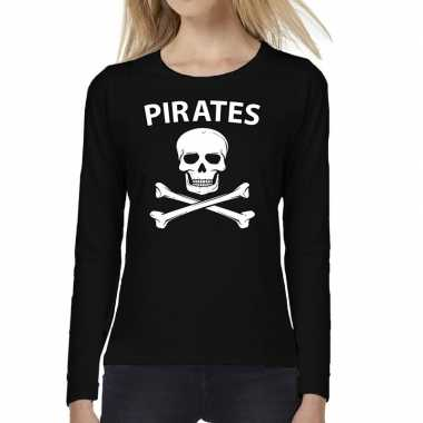 Pirates tekst long sleeve zwart dames t-shirt kopen