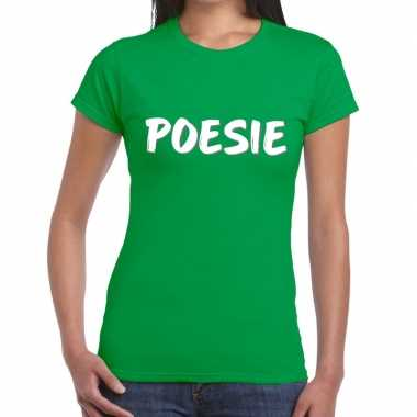 Poesie tekst groen dames t-shirt kopen
