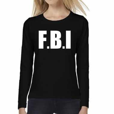 Politie fbi tekst long sleeve zwart dames t-shirt kopen