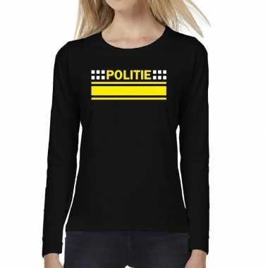 Politie logo verkleed long sleeve zwart dames t-shirt kopen