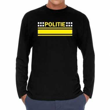 Politie verkleed long sleeve zwart heren t-shirt kopen
