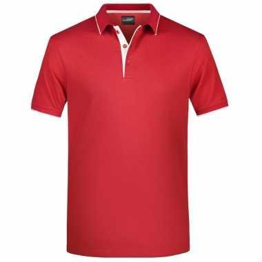 Polo golf pro premium rood/wit heren t-shirt kopen
