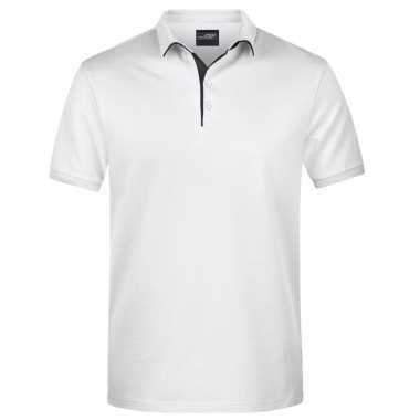 Polo golf pro premium wit/zwart heren t-shirt kopen