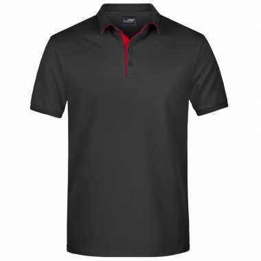 Polo golf pro premium zwart/rood heren t-shirt kopen