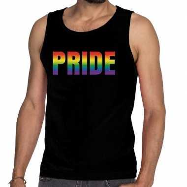 Pride gaypride tanktop/mouwloos zwart heren t-shirt kopen