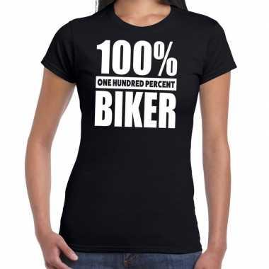 Procent biker tekst zwart dames t-shirt kopen
