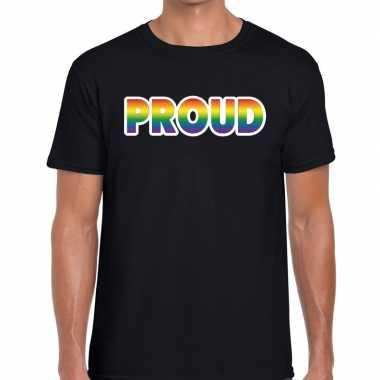Proud regenboog gaypride zwart heren t-shirt kopen