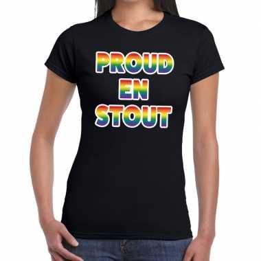Proud stout gay pride zwart dames t-shirt kopen
