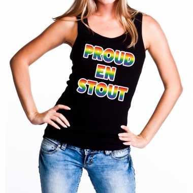 Proud stout gaypride tanktop/mouwloos zwart dames t-shirt kopen