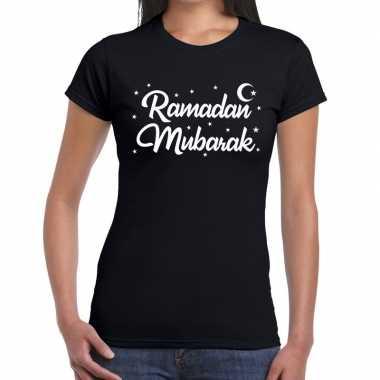 Ramadan mubarak zwart dames t-shirt