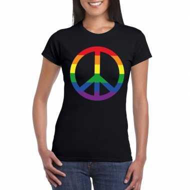 Regenboog peace teken zwart dames t-shirt
