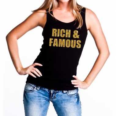 Rich and famous glitter tanktop / mouwloos zwart dames t-shirt kopen