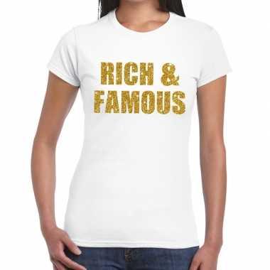 Rich and famous glitter tekst wit dames t-shirt kopen