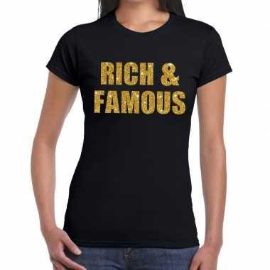 Rich and famous glitter tekst zwart dames t-shirt kopen