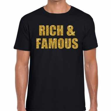 Rich and famous glitter tekst zwart heren t-shirt kopen