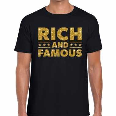 Rich and famous goud glitter tekst zwart heren t-shirt kopen
