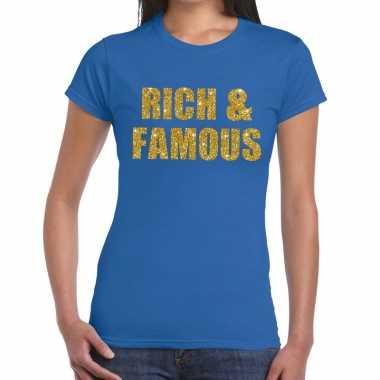 Rich and famous gouden glitter tekst blauw dames t-shirt kopen