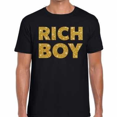 Rich boy goud glitter tekst zwart heren t-shirt kopen