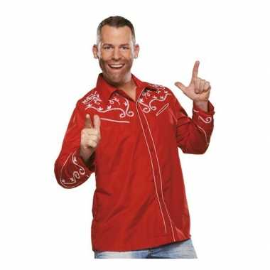 Rode western blouse heren t-shirt kopen