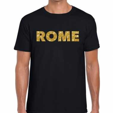 Rome gouden glitter tekst zwart heren t-shirt kopen