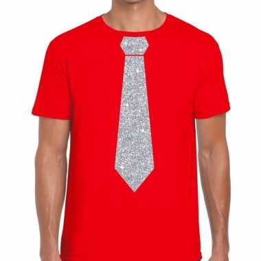 Rood fun stropdas glitter zilver heren t-shirt kopen