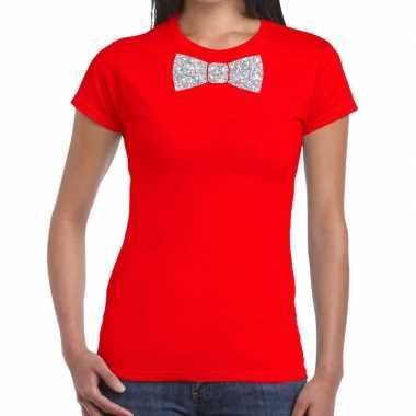 Rood fun vlinderdas glitter zilver dames t-shirt kopen