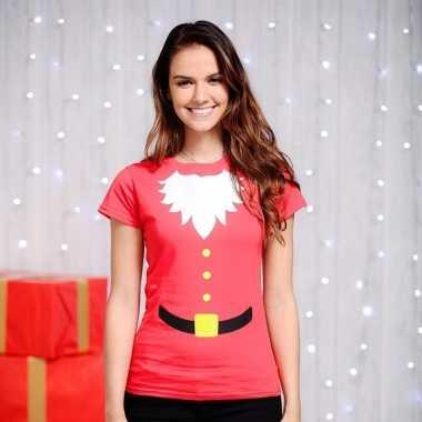 Rood kerstman dames t-shirt