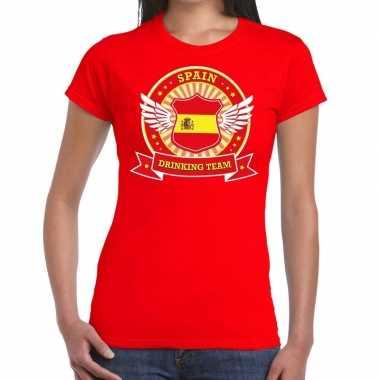 Rood spain drinking team dames t-shirt kopen