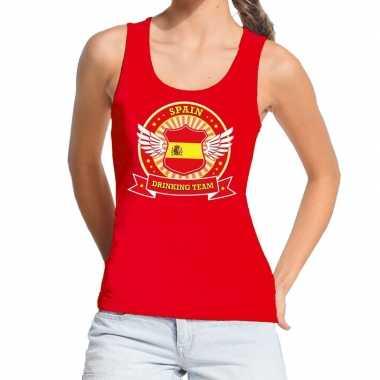 Rood spain drinking team tanktop / mouwloos dames t-shirt kopen
