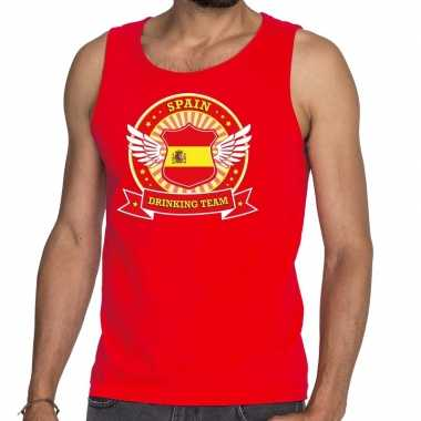 Rood spain drinking team tanktop / mouwloos heren t-shirt kopen