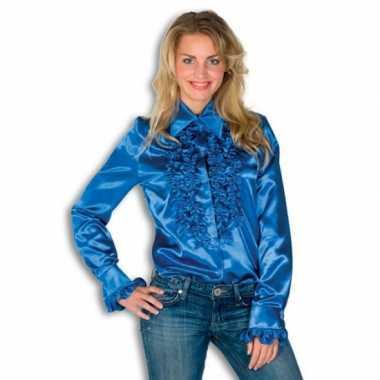 Rouche overhemd blauw dames t-shirt