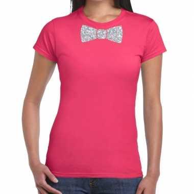 Roze fun vlinderdas glitter zilver dames t-shirt kopen