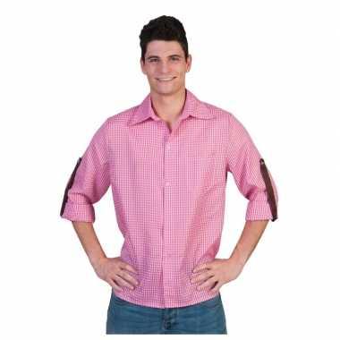 Roze geruite blouse heren t-shirt