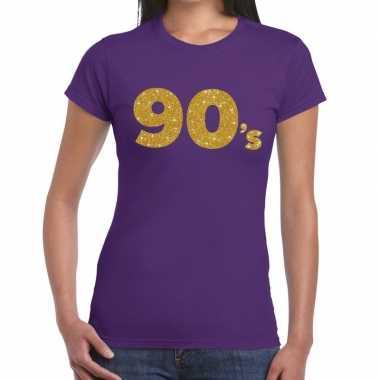 's goud glitter paars dames t-shirt kopen