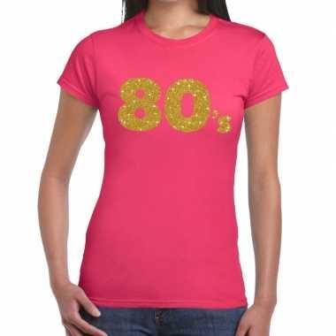 's goud glitter roze dames t-shirt kopen