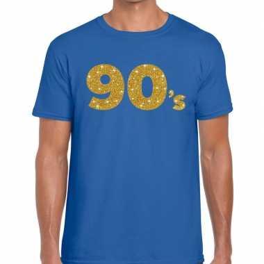 's goud glitter tekst blauw heren t-shirt kopen