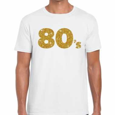 's goud glitter tekst wit heren t-shirt kopen