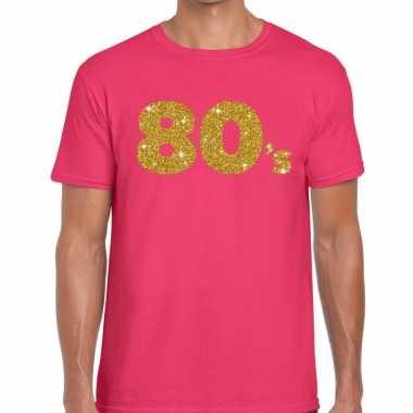 's gouden glitter tekst roze heren t-shirt kopen