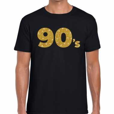 's gouden glitter tekst zwart heren t-shirt kopen