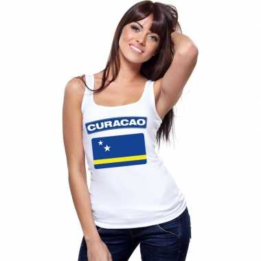 Single tanktop curacao vlag wit dames t-shirt