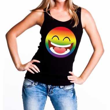 Smiley/emoji regenboog gay pride tanktop zwart dames t-shirt kopen