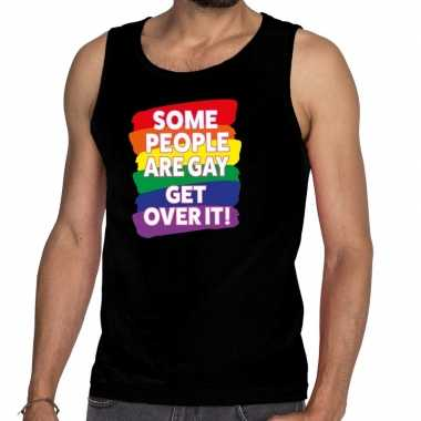 Some people are gay get over it gay pride tanktop/mouwloos t-shirt ko