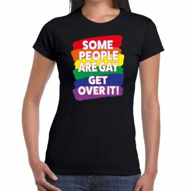 Some people are gay get over it! gaypride zwart dames t-shirt kopen