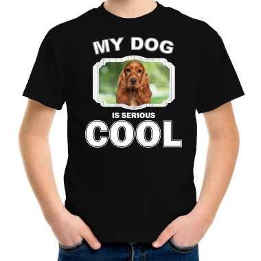 Spaniel honden my dog is serious cool zwart kinderen t-shirt kopen