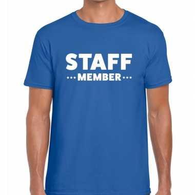 Staff member / personeel tekst blauw heren t-shirt kopen