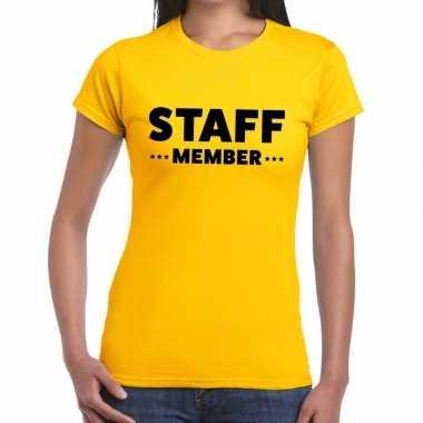 Staff member / personeel tekst geel dames t-shirt kopen
