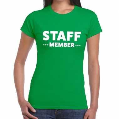 Staff member / personeel tekst groen dames t-shirt kopen